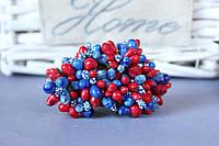"""Добавка """"сложные тычинки крупные микс """" 10-12 шт/уп цвета """"синий + красный"""""""