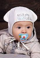 """Детские осенние шапки на завязках """"Нано"""" голубого и молочного цвета."""