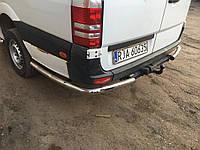 Volkswagen Crafter 2006+ и 2011+ гг. Боковые трубы за задним колесом угловые (2 шт, нерж) Средняя база
