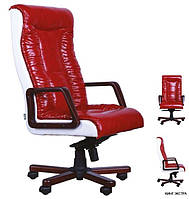 Кресло Кинг EXTRA мех., ANYFIX (орех) Лаки Ред передняя часть, Лаки Белый задняя часть без вышивки