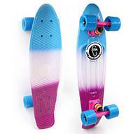 Пенни Борд Fish «Gradient» 22″ Голубые Колеса / пенниборд скейт (penny board), скейтборд с рисунком