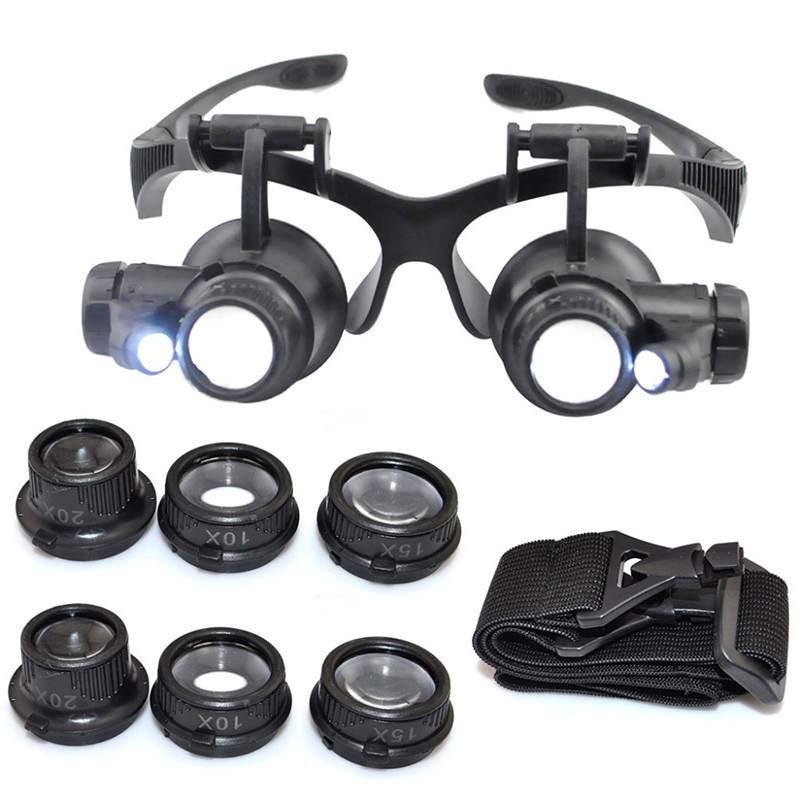 Очки увеличительные бинокулярные, LED подсветка, сменные линзы.