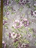 Бязь с крупными сиреневыми цветами на сиреневом фоне, фото 1