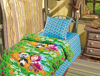 Детское постельное белье Гость Маша и Медведь, ТМ Непоседа  100% хлопок, бязь, зеленый