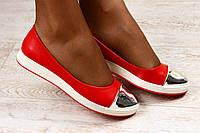 Балетки женские кожаные красные на белой подошве с серебристым лаковым носиком