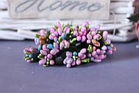 """Добавка """"сложные тычинки микс """"  около 144 шт/уп цвета """"пудровый розовый + голубой + зеленый"""" оптом"""