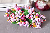 """Добавка """"сложные тычинки микс """" 10-12 шт/уп цвета """"розовый + малина +фиолет +горчица"""""""