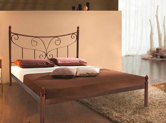 Кровать металлическая двуспальная Луиза (коричневый)