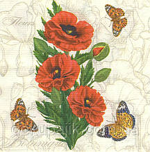 Декупажний серветка Маки і метелики 5971
