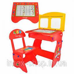 Регулируемая парта и стульчик для детей W 077 с мольбертом и шкафчиками
