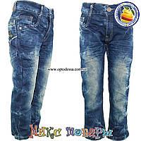 Синие утеплённые джинсы с теркой для мальчика от 3 до 9 лет (4659)