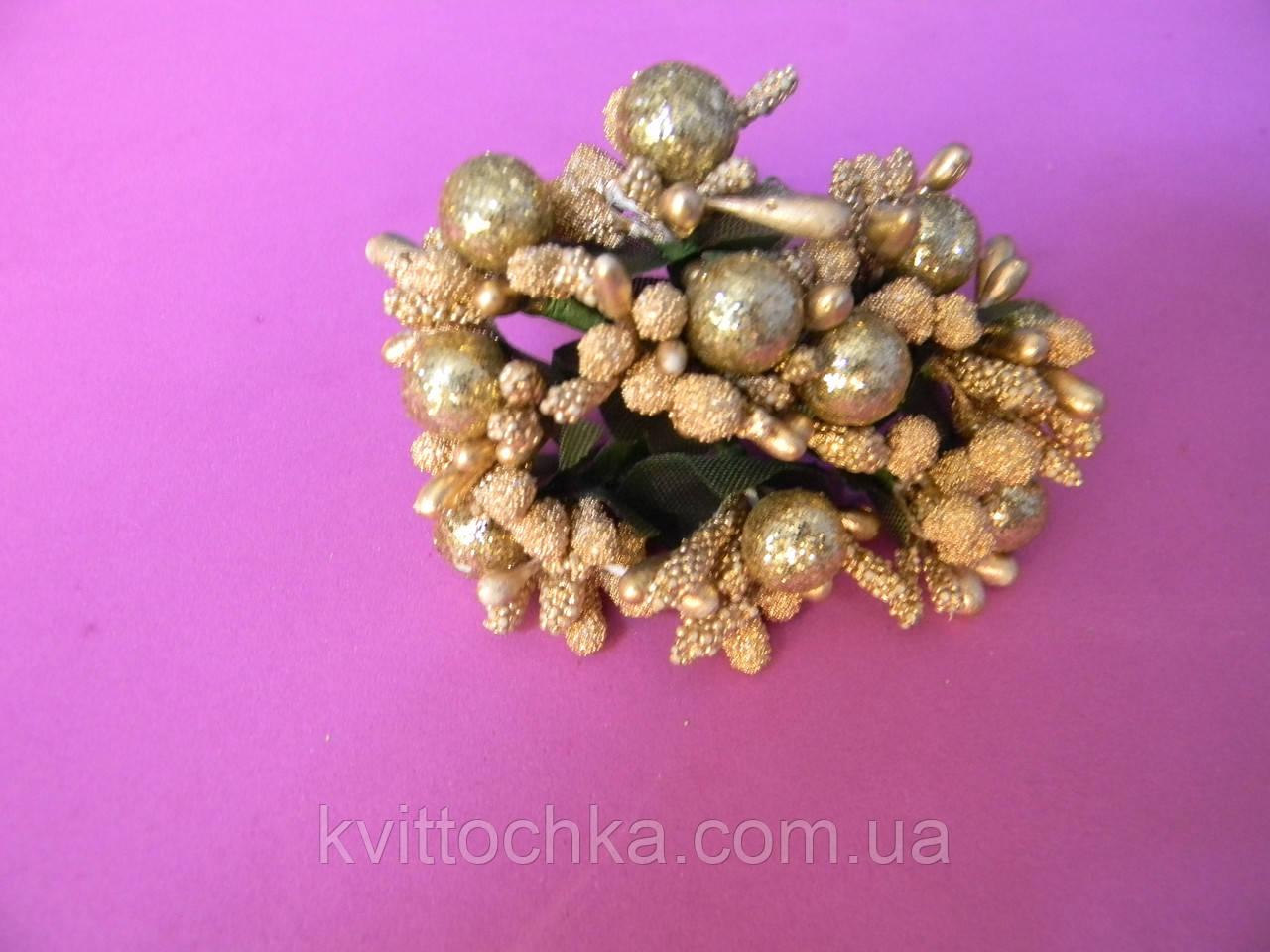 Тычинки золото c бусинкой
