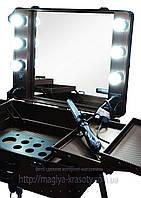Большая профессиональная мобильная студия для  визажиста с освещением для зеркала