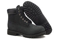 Ботинки Classic Timberland (Тимберленд) 6 inch Black Boots (без меха)