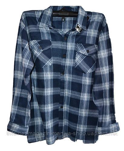 Кофта-рубашка мужская клетка батал