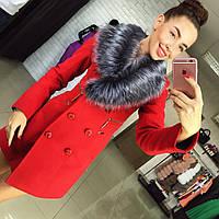 Женское кашемировое пальто Лора с меховым воротником