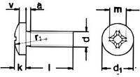 DIN 7985 (ГОСТ 17473) Винт с полукруглой головкой (крестообразный шлиц)