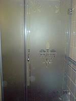Душевая дверь с пескоструйным рисунком