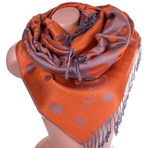 Экстравагантный женский двусторонний палантин из пашмины 178 на 68 см ETERNO ES2707-6-2 оранжевый