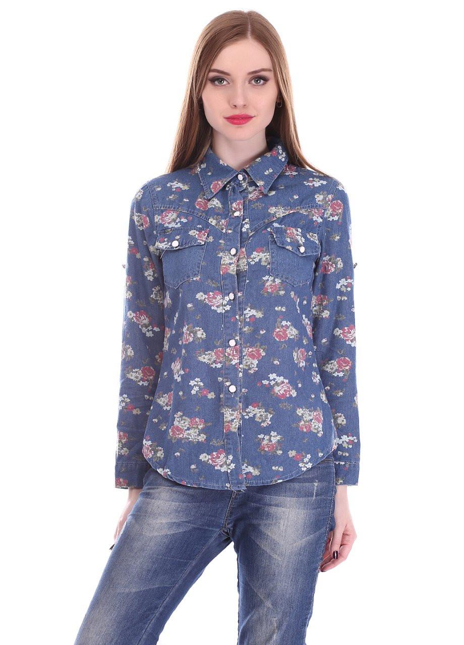 Модная женская джинсовая рубашка в цветочный принт
