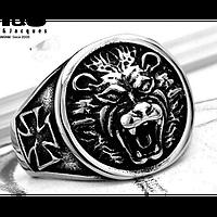 Кольцо мужское из стали. Лев на щите