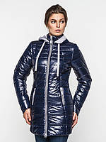 Длинная зимняя женская водонепроницаемая куртка с оригинальным капюшоном 90112