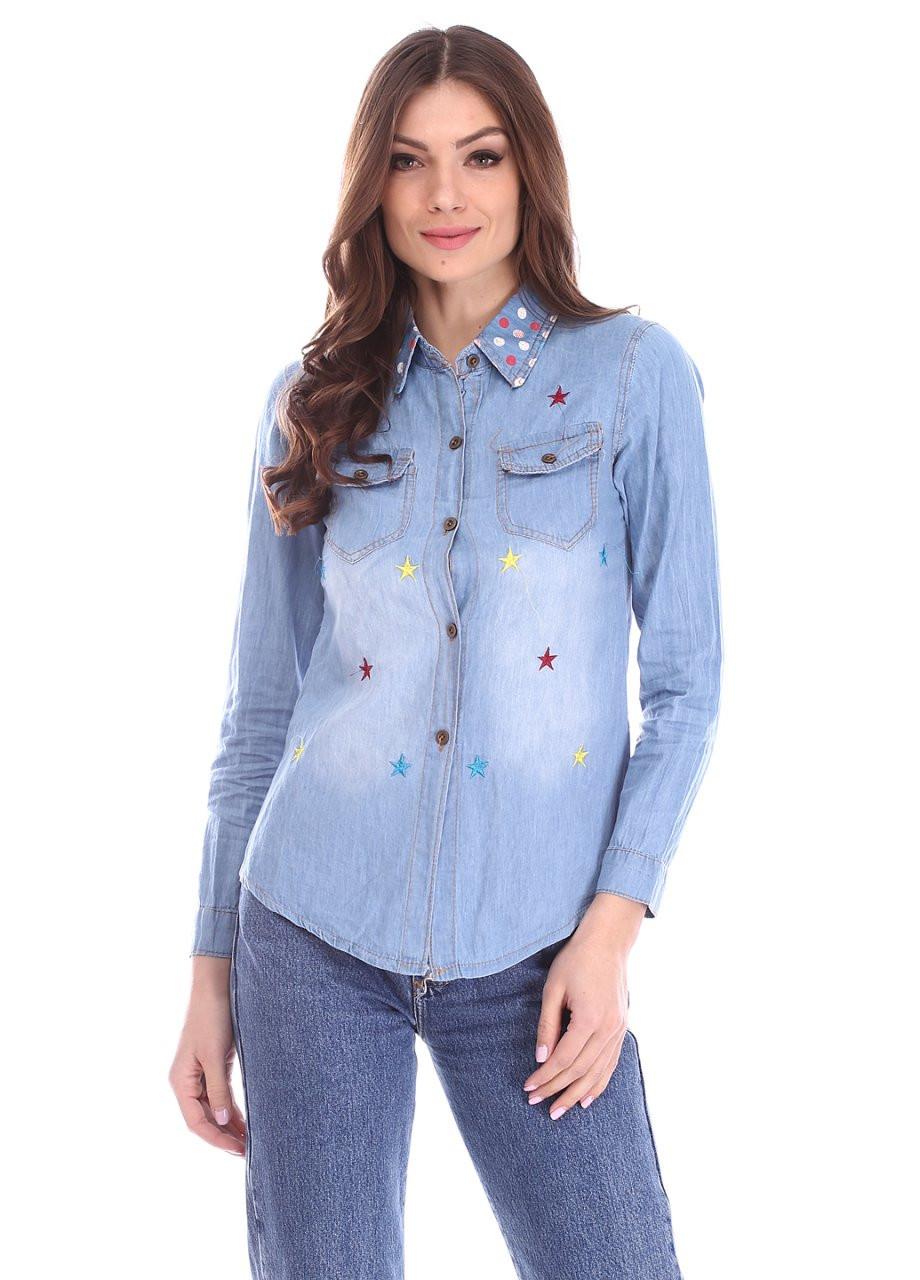 Модная джинсовая женская рубашка с яркими звёздами и горохом на воротнике