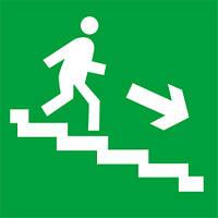Наклейка: Выход вниз по лестнице (направо)150х150