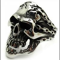 Кольцо мужское. Цепи. Череп, сталь 316L кольцо 20размер