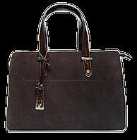Красивая женская сумочка из натуральной замши коричневого цвета и искусственой кожи