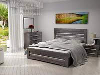 Кровать Соломия 140х200 (скол дуба белый/черный, венге южный)