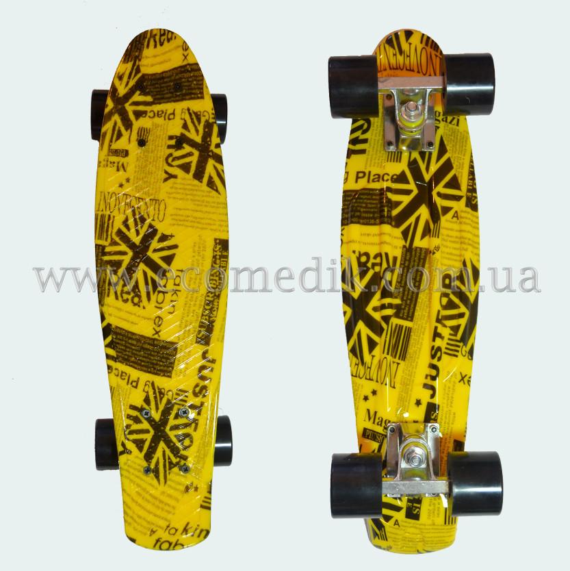 """Стильный скейтборд пенни борд газетно-желтый penny board original 22"""""""