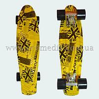 """Стильный скейтборд пенни борд газетно-желтый penny board original 22"""", фото 1"""