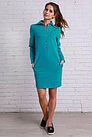 Женское модное платье однотонное бирюзовое на кнопках