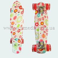 "Со светящимися колесами скейтборд пенни борд с рисунком цветов Flowers penny board original 22"", фото 1"
