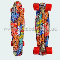 """Стильный скейтборд пенни борд с рисунком Graffiti penny board original 22"""", фото 1"""
