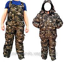Зимний костюм Камуфляж Лес мембранная ворса alova для охоты и рыбалки, удлиненная куртка