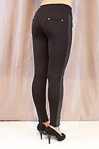 Модные красивые черные лосины с рельефными вставками эко кожи., фото 2