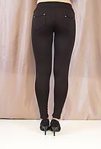 Модные красивые черные лосины с рельефными вставками эко кожи., фото 3