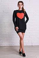 Платье-туника молодежное с нашитым сердечком