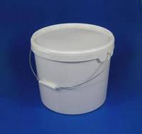 Ведро пластиковое пищевое белое с металической ручкой 21 л.