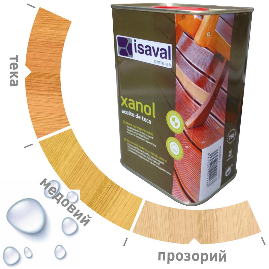 Водоотталкивающее тиковое масло Ксанол ISAVAL для террас и садовой мебели 0,75л≈5м²/слой