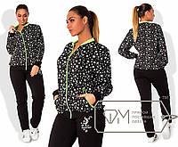 Женский спортивный костюм со звездочками большого размера g-1515760
