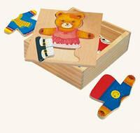 Пазлы, гардероб медведицы Деревянные развивающие игрушки