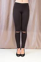 Черные утепленные молодежные лосины с замочками на колене