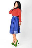 Стильная юбка-миди с кожанными вставками размеры:44 46 48  ( Н.И.К.)
