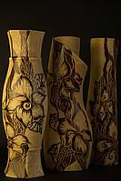Ваза керамическая шамот с рисунком Цветы