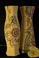 Большая керамическая ваза Цветы подсолнухи.
