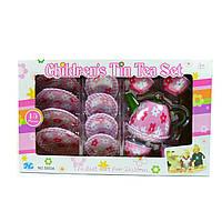 """Детский жестяной чайный сервиз """"Розовый цветочек"""", 15 предметов"""