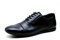 Туфли мужские Falcon, спортивные, натуральная кожа, черные, р. 40
